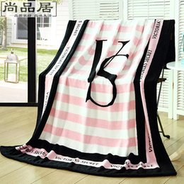 Wholesale 2016 women Pink love VS Blanket Manta Fleece Blanket Throws on Sofa Bed Plane Travel Plaids Hot Limited Battaniye cmx160cm