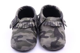 Wholesale 2015 Fashion Army Camouflage Infant Toddler Kids Boys First Walkers Soft Soled Non slip Newborn Baby Moccasins Soft Moccs Shoes