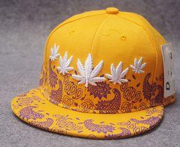 Wholesale 2016 New eras Prevent bask embroidery Hemp leaf hat hop Street dance hats floral Men and women baseball peaked cap flat along the hat ST39