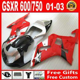 Wholesale Fit for Suzuki GSXR Fairing GSX R600 gsx r750 Sliver Red bodywork parts kits