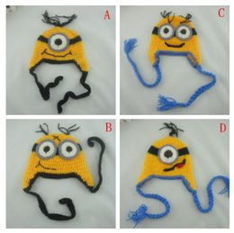 Wholesale 4 Design Despicable me crochet hats NEW Baby cartoon minions Costume Handmade Crochet Knitted Hat Animal Mouse Head Beanie Cap B001