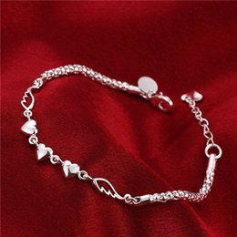 Hot christmas sale 925 silver Heart Feather Bracelet DFMCH365, Brand new fashion 925 sterling silver plated Chain link bracelets high grade
