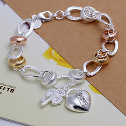 925 silver Hanging dichroic insets heart lock,flower spoon bracelet DFMCH233, fashion sterling silver plated Chain link bracelets high grade