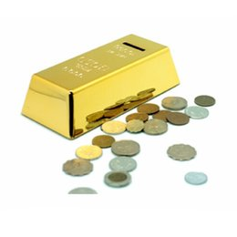 Wholesale Geometric Modeling Simulation BRIC Gold Bars Piggy Bank ABS Plastic Golden Money Safe Coin Bank for Kid