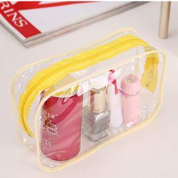 Wholesale-Multi Functional Travel Clear Transparent Toiletry Zip Pouch Plastic PVC Bags Makeup Cosmetic Bag