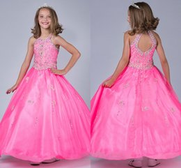 Wholesale Affordable Luxury flower girls dresses for weddings Sequined Ball Gown Dress Girls Halter Beaded Floor Length Stunning Girls Pagent Gowns