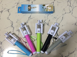 Wholesale 2015 Newest Folding Selfie Stick Monopod With Audio Cable Wired Well Fashion Equipment For Taking Photoes Foldable Wired selfie monopod