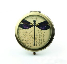 Wholesale Vintage Dragonfly Pocket Mirror Personalized Compact Mirror Antique Bronze Silver Antique Pocket Mirrors