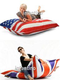 Wholesale HIGH QUALITY UK AND USA FLAG BEANBAG sofa cushion NEVER COLOR SHADE outdoor bean bag furniture seat DURABLE waterproof fashion portable sofa