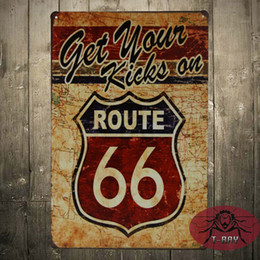 Wholesale Get Your kicks on Route Antique Motor Oil Vintage Rustic Metal Tin Sign for the Garage Man Cave