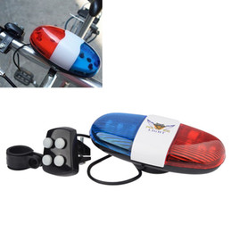 Wholesale 6 LED Tone Sounds Bike Bicycle Horn Bell Police Car Light and Electronic Horn Siren