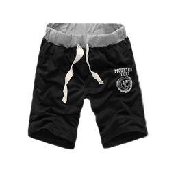 Wholesale-Male Leisure Trousers Mens Casual Sport Dance Gym Training Fitness Letters Elastic Waist Shorts Half Deep-Blue XL
