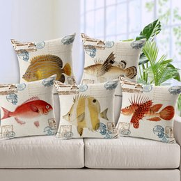 21 Styles Ocean Tropical Fish Custom Cushion Covers Star Fish Shark Throw Pillows Cases Linen Cotton Decorative Pillows Covers Sofa Decor