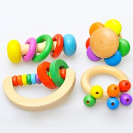 1pc Colorful Wooden Musical Instrument Noise Maker Baby Calm Rattle Early Educational Baby Toy