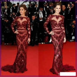 Wholesale 2014 Cheryl Cole Zuhair Murad Dress Cannes Red Carpet Sexy Burgundy Lace Celebrity Dress Evening LXE03