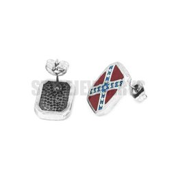 Free Shipping! Classic American Flag Earrings Stainless Steel Jewelry Fashion Cross star Motor Biker Men Women Earring SJE370144A