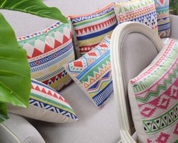 Wholesale Variety Of Geometric Abstraction Cushions Folk Style Linen Pillow Rhombus And Striped Printing Cushion