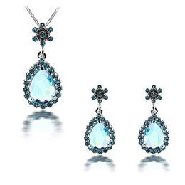 Water Drop Necklace Earrings Sets Full Rhinestone Crystal Jewelry Sets For Women Best Gift Wedding Jewelry Set 1119