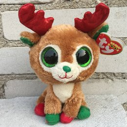 Wholesale NEW ARRIVAL TY BIG EYES GLITTER EYES Reindeer Christmas Alpine quot cm MINT Stuffed plush dolls animal toy