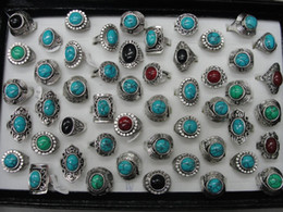 Wholesale 2015 Brand New Women s Antique Silver Ring With Four Color Turquoise Bohemian Ring Gothic Jewelry