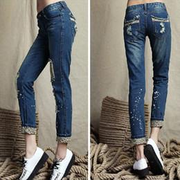 Womens plus size blue denim jeans designer ladies flare harem ripped Leopard hole distressed thin pencil jeans for women wholesale