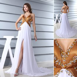 Wholesale 2016 Hot Design Halter Brown Bust With Bead Hollow Waist White Chiffon Hem Mix Color Split Leg Backless Evening Gowns Long White Custom Made
