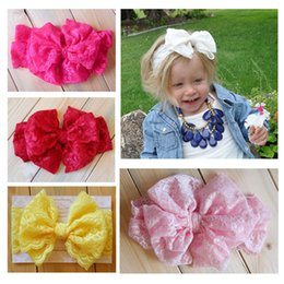 2015 Baby girl Lace Big Bow Headband Stretch Lace Bow Headbands for girls baby Vintage Head Wrap headdress kids Hair Accessories 20pcs lot