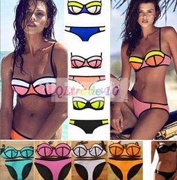 Wholesale 12 colors New Bikini Swimsuit Bath Suit Women neoprene Bikini Sexy Triangle Push Up Bikini Fashion Women Swimwear LJJD2158A sets