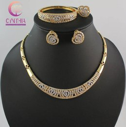 African Costume Jewelry Set 18K Gold Plated Heart Crystal Fashion Wedding Women Bridal Accessories Necklace Bangle Earring Ring