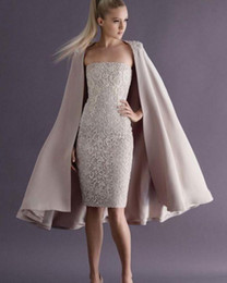 Fashionable Lace Two pieces Evening Dresses With Wrap Sheath Strapless Neckline Short Prom Dress 2015 Special Occasion Gowns