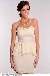 New Fashion White Career Ivory Crochet Peplum Dress women LC2794 Free Shipping Cheap Price