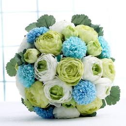 Wholesale Green Elegant Brdial Bouquet False Flower Hot Beautiful Simulation More Color Rose Fashion Desktop Decoration Bouquet Flower High Quality ZY