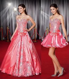 Wholesale Satin Bow Corset - 2015 Modern Quinceanera Detachable Skirt Custom Sexy Beaded Crystal Lace Applique Sweetheart Neck Stunning Water Melon Corset Wedding Gowns