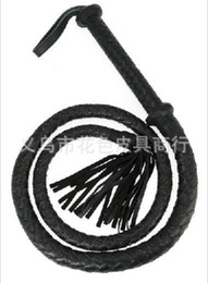 """Black 59"""" Movie Style Flogger Roleplay Leather Handle Bullwhip Costume Whip Fun Toy"""