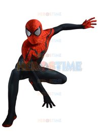2015 Newest Superior Spider-man Costume 3D Printing spandex Black Red Spiderman superhero costume for halloween cosplay party free shipping