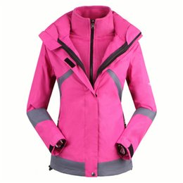 Wholesale-new 2015 Winter Skiing Jackets For Women Outdoor Snowboarding And Ski suit Waterproof Warm 2-in-1 hiking hoodie windproof