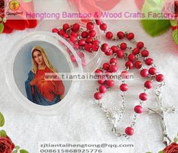 Wholesale free ship pack perfume rose scented rosary necklace pink bead rosary with virgin mary center and plastic saint box