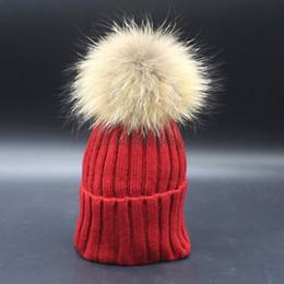 2017 New Fashion Soft Knit Kids Caps Winter Warm Crochet Beanie Hat Children Size With Real Raccoon Fur Big Pompon Balls 6 Colors