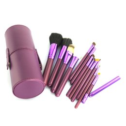Almacenamiento de maquillaje de madera en Línea-Paquete de herramientas Belleza Maquillaje Pinceles 12 PCS púrpura Maquillaje Pincel Cosméticos Set Sombra de madera Blush Pincel Herramientas con estuche de almacenamiento