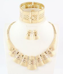 Fashion Women Wedding African Jewelry 18K Gold Plated Rhinestone Crystal High Quality Statement Necklace Ring Earring Bracelet Jewelry Sets