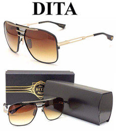 Wholesale oculos Dita sunglasses dita armada retro men brand designer sunglasses metal model square shape K gold plated oversize steampunk style