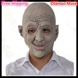 Wholesale Halloween Funny Party Cosplay Oldman Face Mask Smiling elder man face mask animated latex mask fancy party Mask