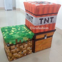 Wholesale Minecraft Game Multifunction Storage Box Foldable Storage Stool Creeper TNT Grass Treasure Chest Styles cm