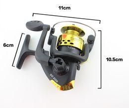 Mini-roches en Ligne-Canne à pêche Mi Mini Spinning 6BB 2000 5.5: 1 pliant en métal Rocker Rocher télescopique à pêche moulinets de pêche colorés livraison gratuite