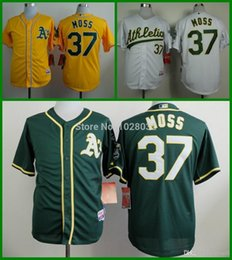 Wholesale 2015 New NEW Oakland Athletics Jersey Brandon Moss Jersey White Green Yellow Authentic Baseball Jersey Embroidery Top Quality
