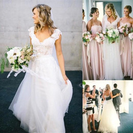 Wholesale 2016 New Bohemian A Line Wedding Dresses Affordable Lace Short Cap Sleeve V Neck Open Backless White Ivory Tulle Beach Garden