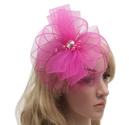 Wholesale MEW Fashion Fascinator Women French Veiling Hair Headband with Clip Vintage Fashion Lady Party Accessories colors