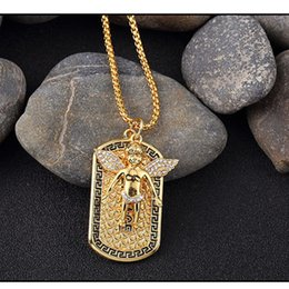 Wholesale 2016 hip hop Jewelry K real gold plated popcorn chain Micro Angel Piece wind full crystal pendant tag dog Necklace jewelry