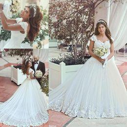 New Vintage Arabic A Line Wedding Dresses V Neck Straps Lace Appliques Beaded Chapel Train Corset Back Cap Sleeves Bridal Gowns BO8823