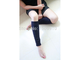 Wholesale-Womens 6Pairs Lot Wholesale Free Shipping Navy Blue Thick Leg Warmers Hand Knitted Boot Large Cable Ice Skating Socks